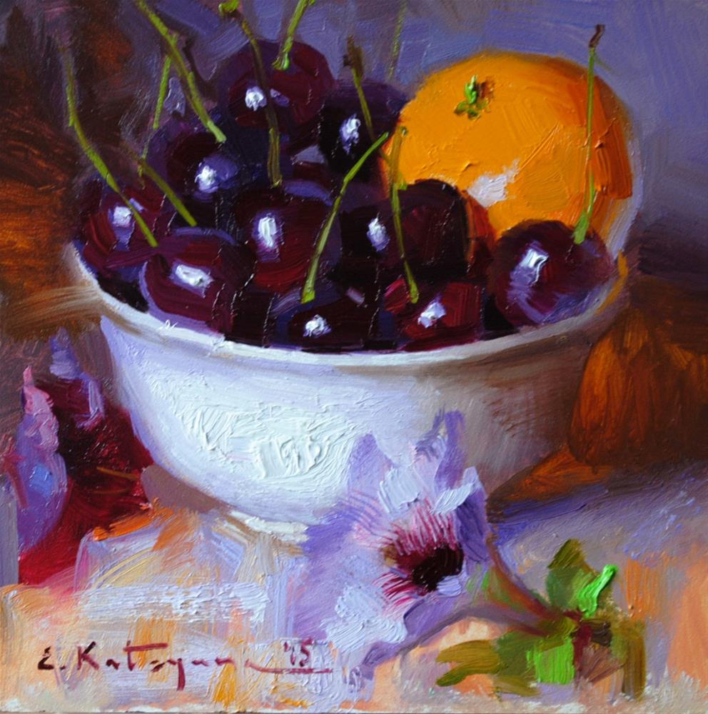 """Red Cherries and Mandarin"" original fine art by Elena Katsyura"