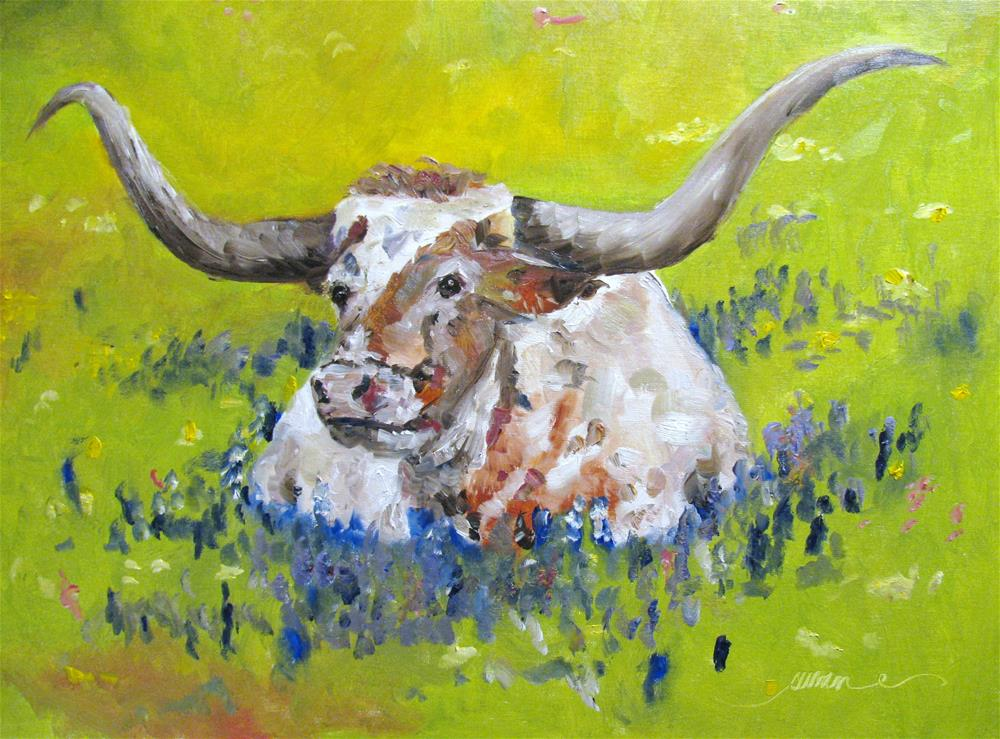 """Bullhorns and Bluebonnets"" original fine art by Susan Elizabeth Jones"