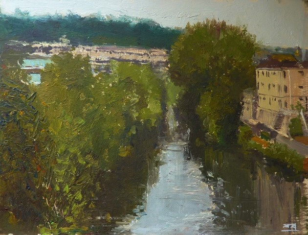 """River Avon, Bath"" original fine art by Adebanji Alade"