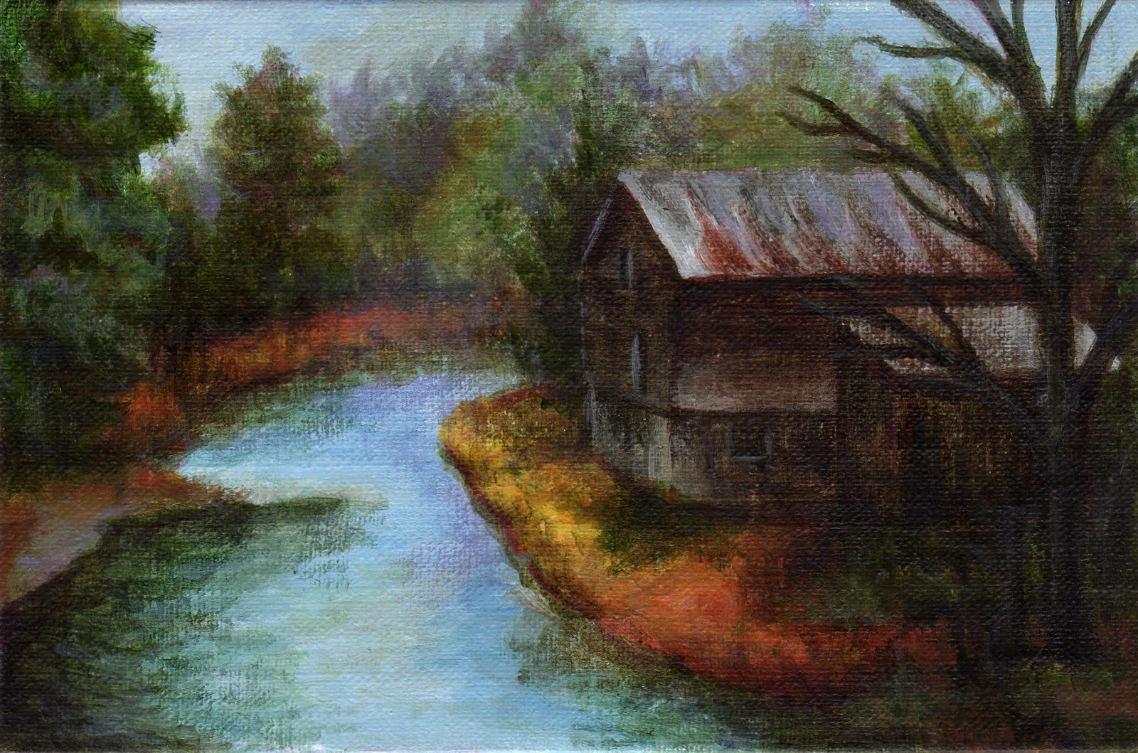"""The Old Mill"" original fine art by Debbie Shirley"