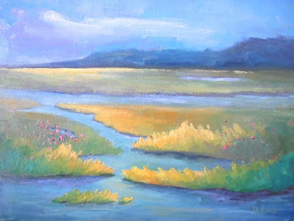"""Marsh Painting,Southern Landscape, daily painting, small oil painting  SOLD"" original fine art by Carol Schiff"