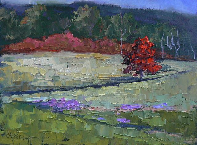"""BLUE RIDGE AUTUMN, 6X8, OIL"" original fine art by Carol Schiff"
