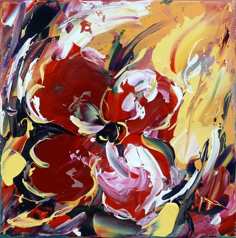"""Red Flower"" original fine art by Mikko Tyllinen"