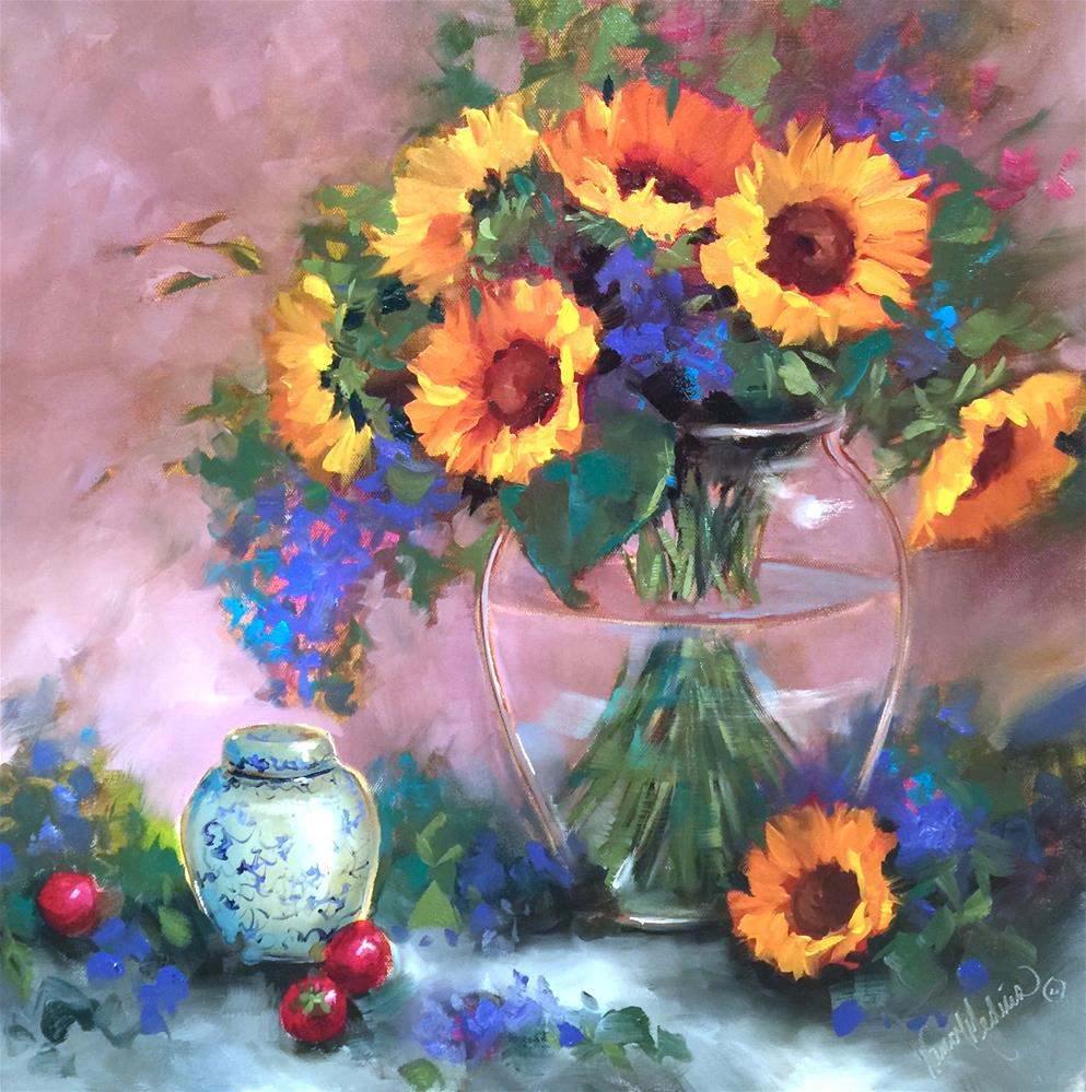 """San Diego Strawberries and Sunflowers - Nancy Medina Art Classes and Videos"" original fine art by Nancy Medina"