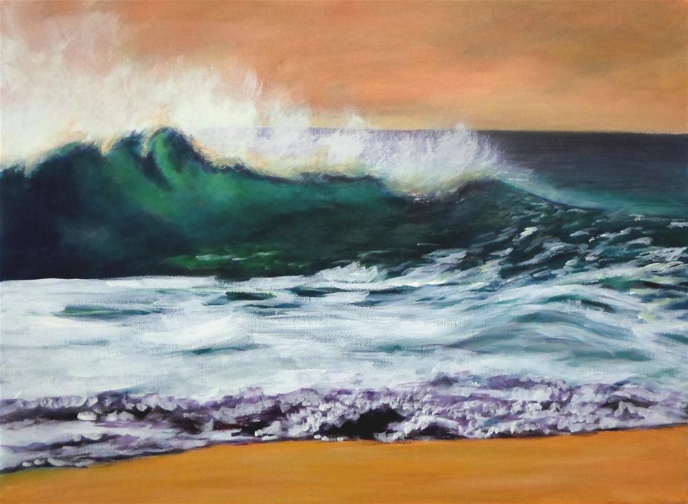 """12 x 16 inch acrylic Big Wave"" original fine art by Linda Yurgensen"