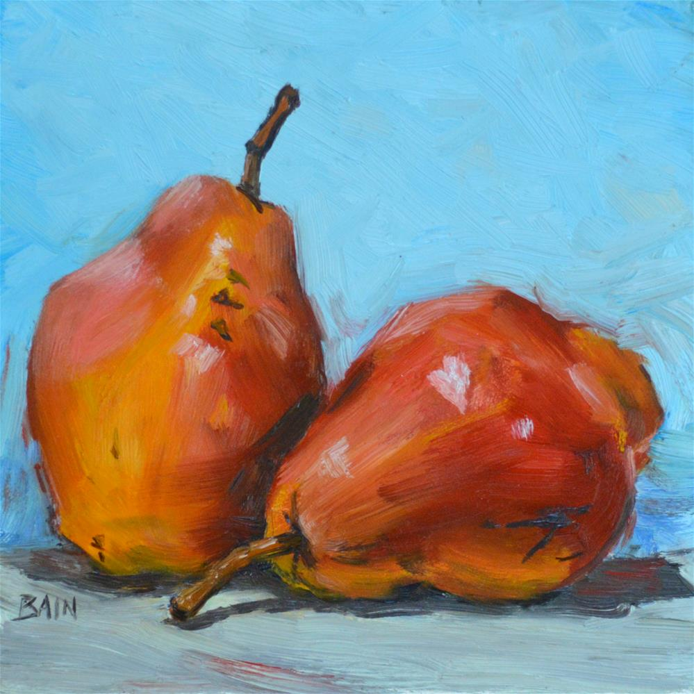"""Two Red Pears"" original fine art by Peter Bain"