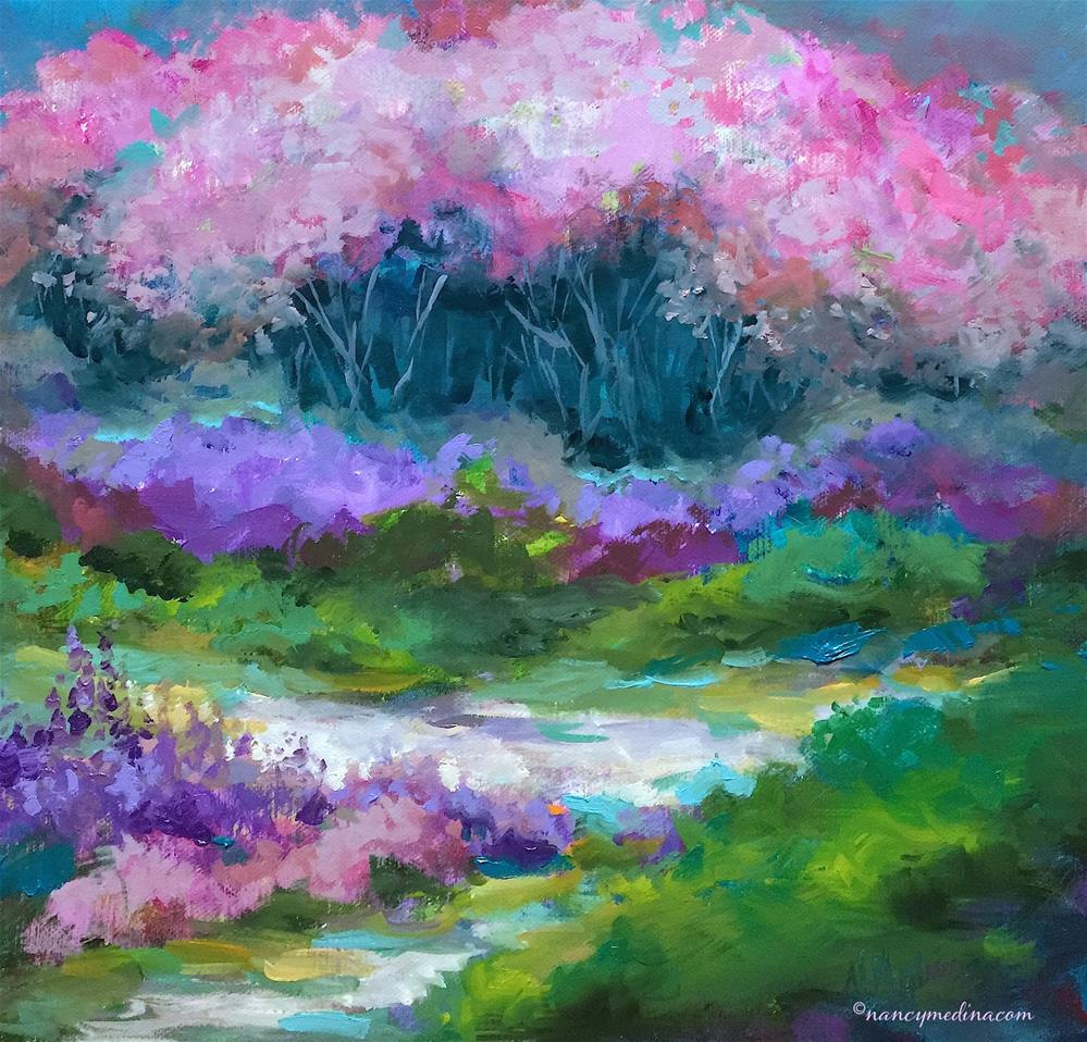 """Silver Lake Cherry Blossoms - Nancy Medina Art"" original fine art by Nancy Medina"