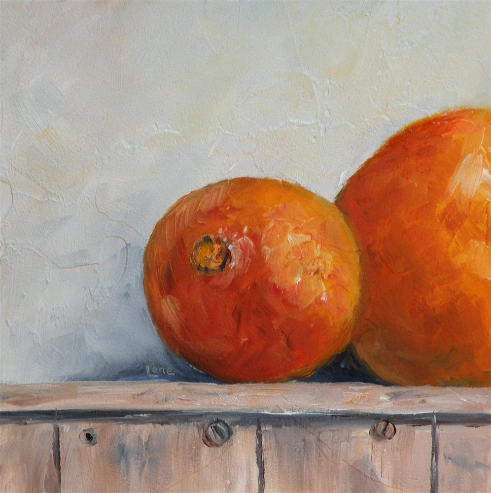 """ORANGE AND A HALF ORIGINAL OIL MINI ON TEXTURED PANEL © SAUNDRA LANE GALLOWAY"" original fine art by Saundra Lane Galloway"