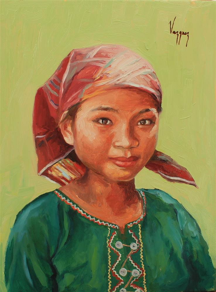 """Girl in bandana"" original fine art by Marco Vazquez"