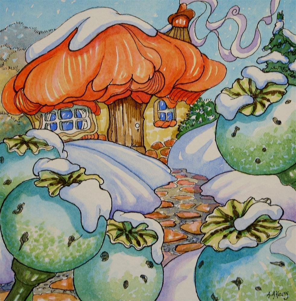 """""""Winter Comes to Poppy Cottage Storybook Cottage Series"""" original fine art by Alida Akers"""
