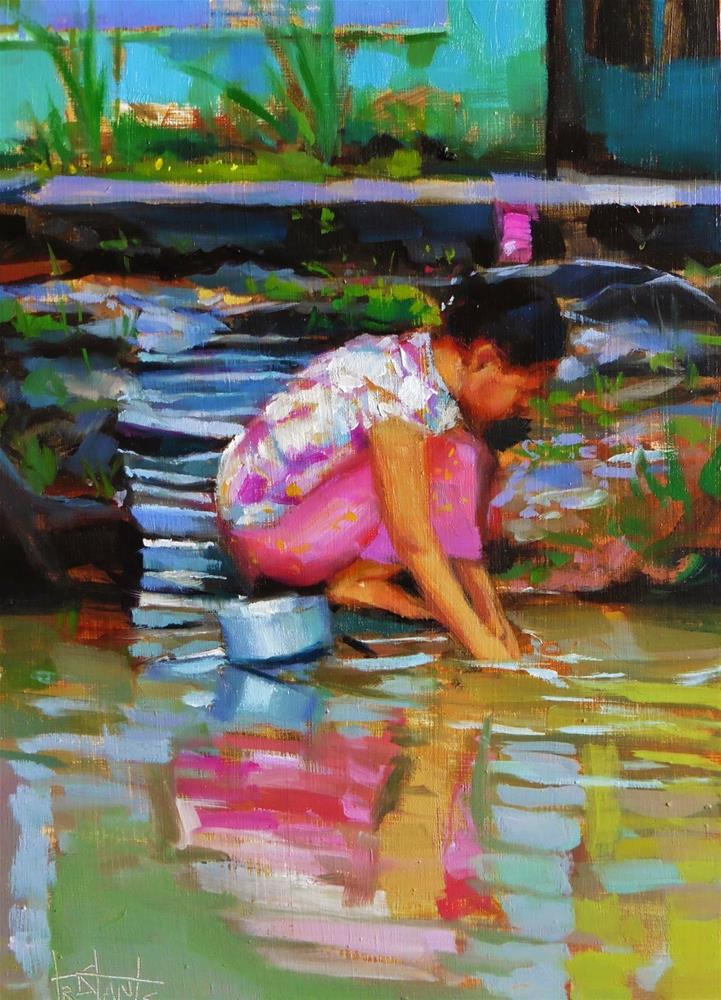 """Cleaning at river"" original fine art by Víctor Tristante"