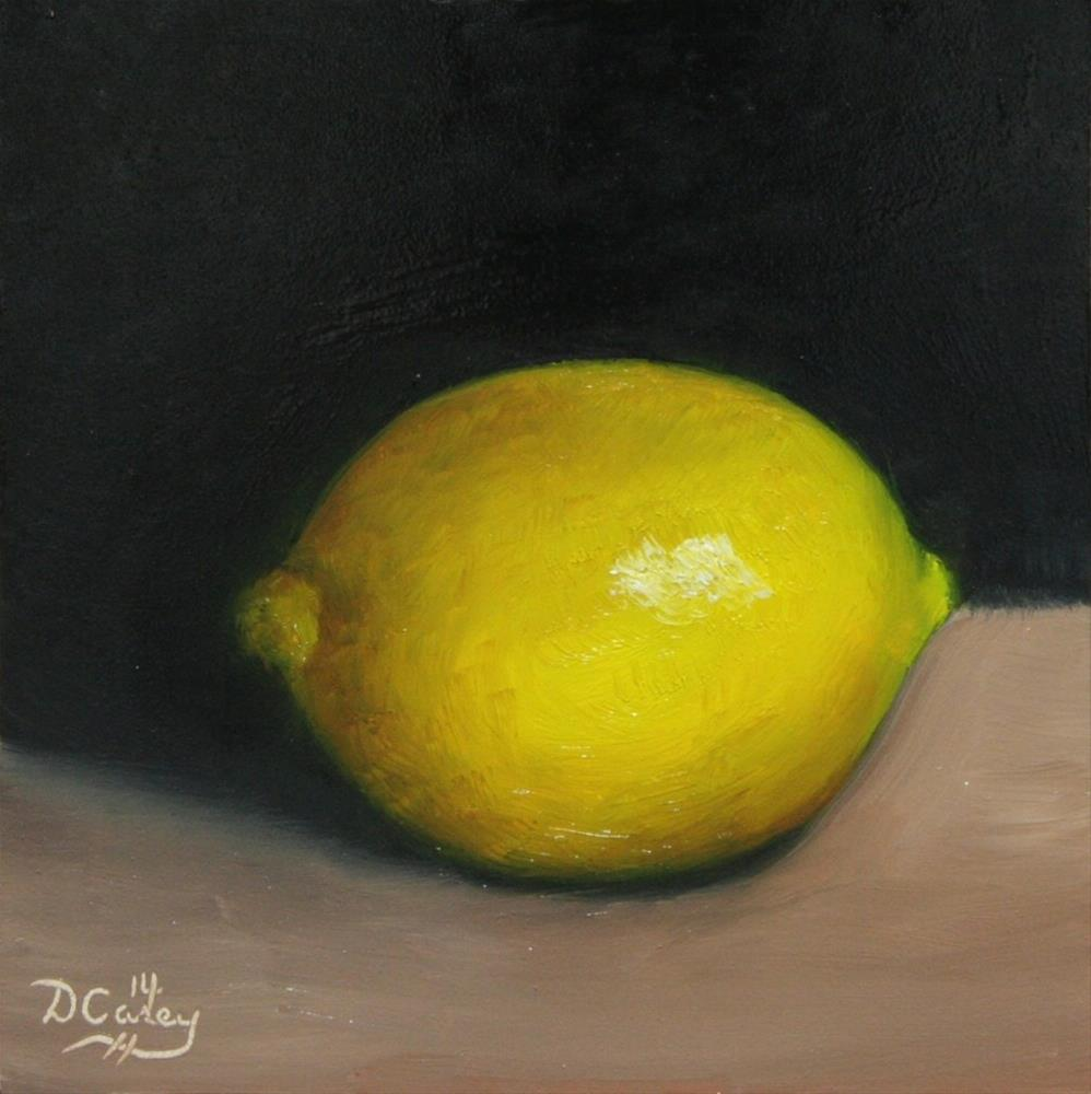 """141010 - Kitchen Painting - Lemon 005a 6x6 oil on gessobord - Dave Casey - TheDailyPainter"" original fine art by Dave Casey"
