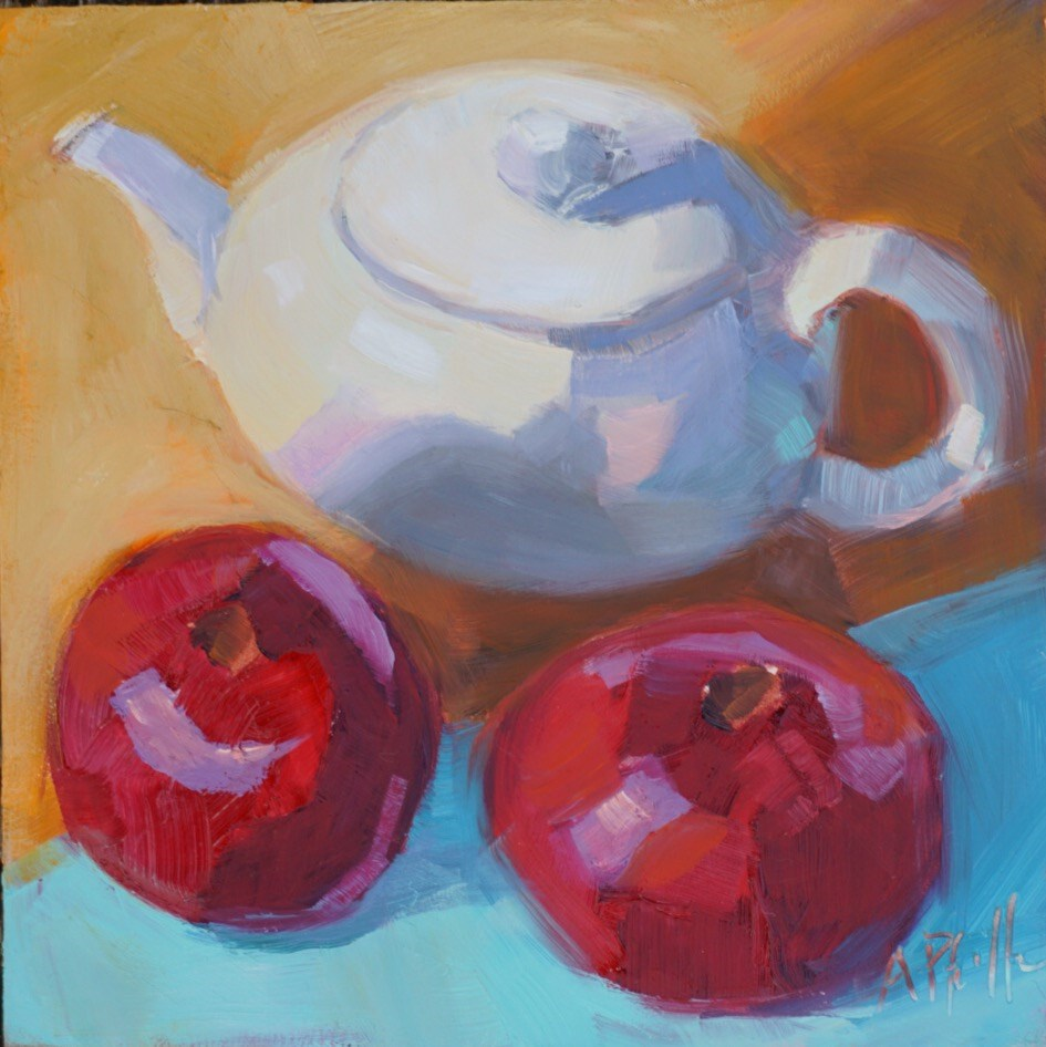 """""""Two Poms and a Teapot"""" original fine art by Anne Pfeiffer"""