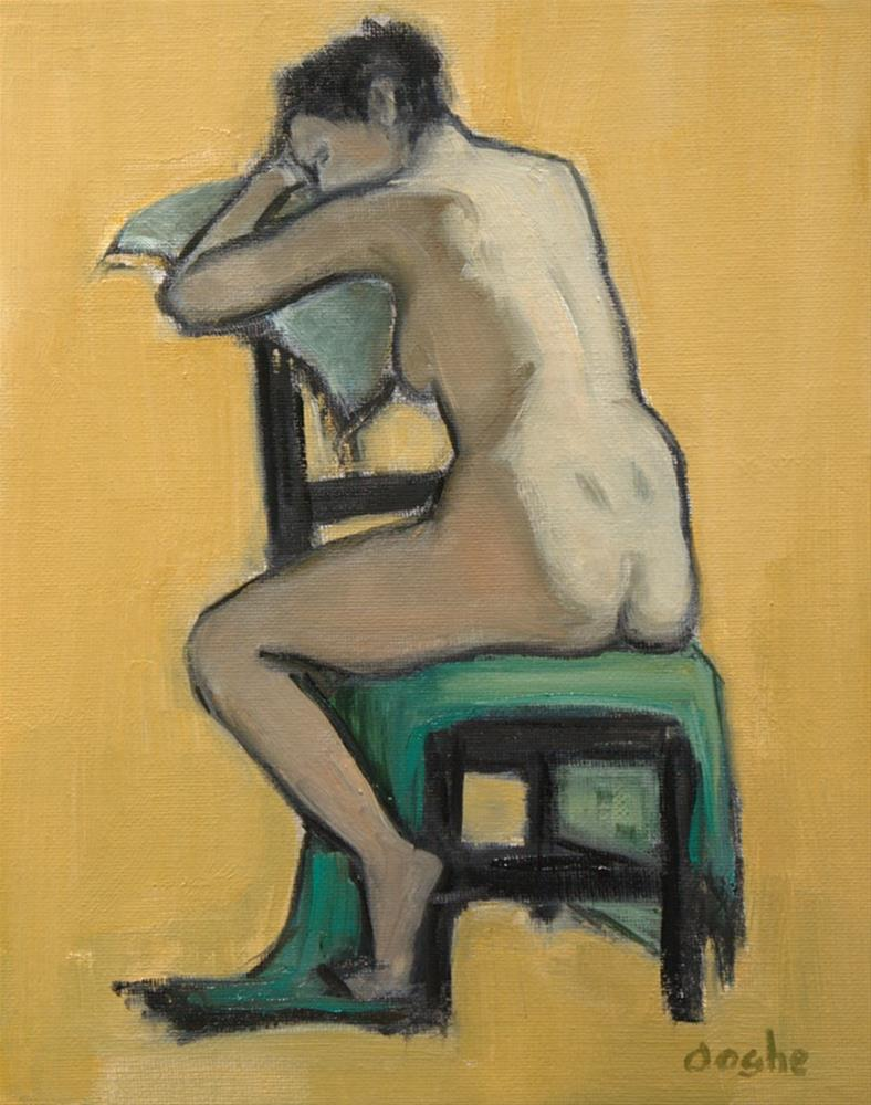 """Nude on Yellow"" original fine art by Angela Ooghe"