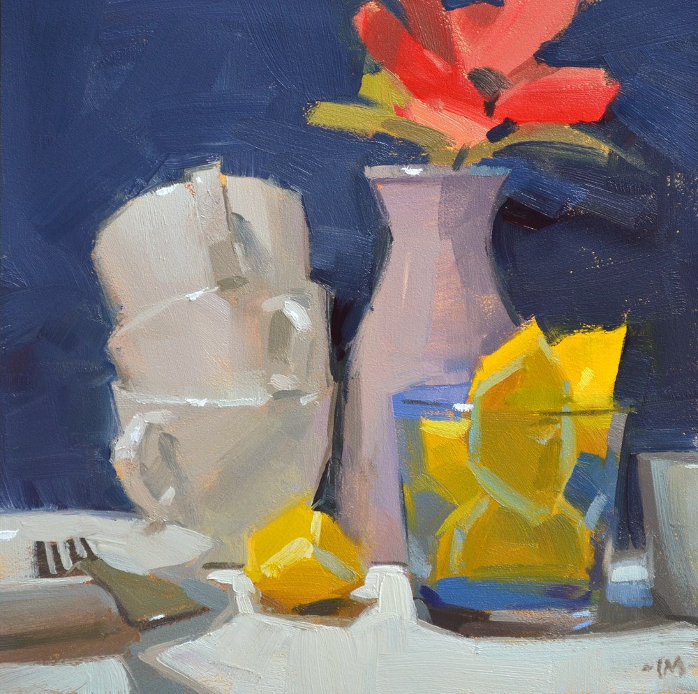 """Lemon in Blue"" original fine art by Carol Marine"