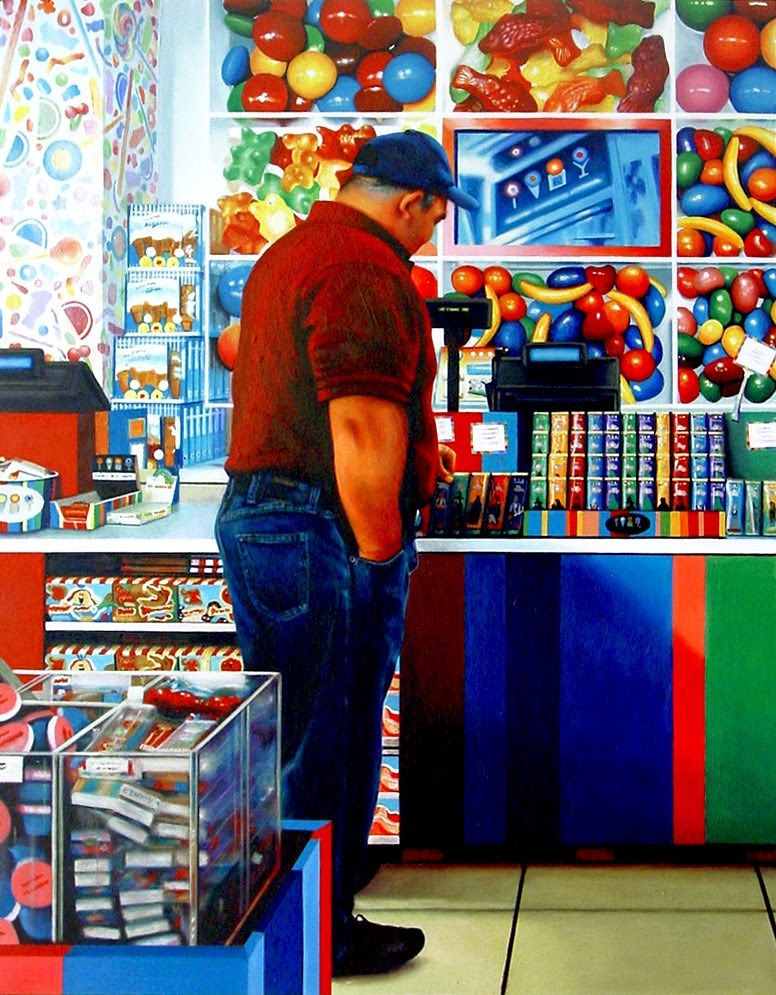 """Candy Shop- Painting Of Man Standing In Candy Shop"" original fine art by Gerard Boersma"