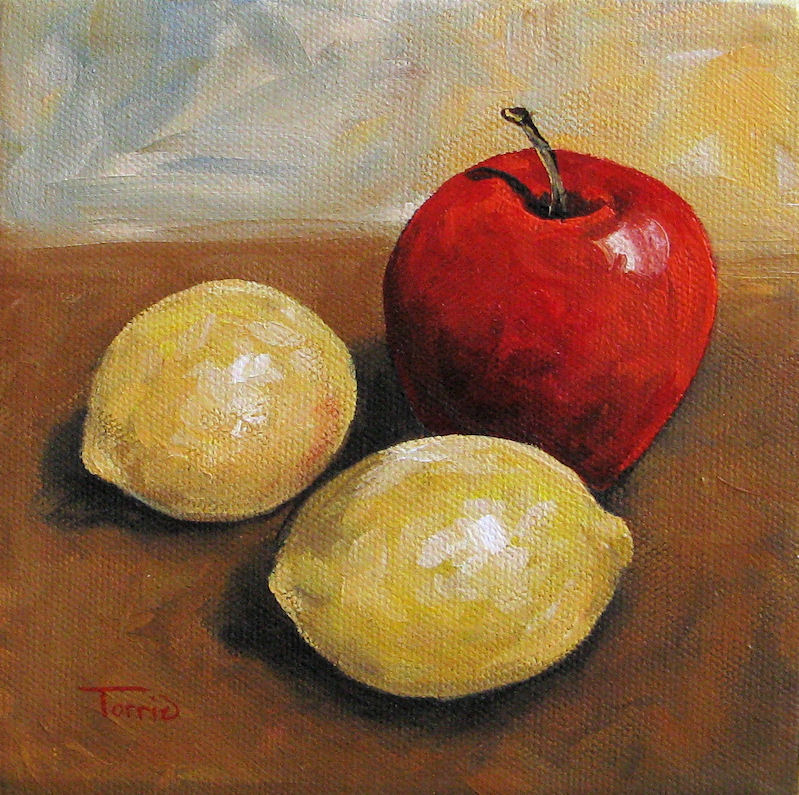 """Red Apple and Lemons"" original fine art by Torrie Smiley"