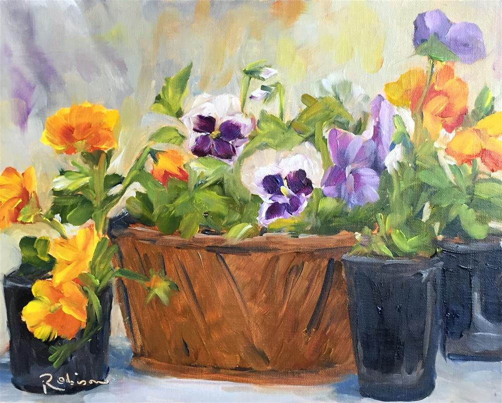 """Pansies ready to plant"" original fine art by Renee Robison"