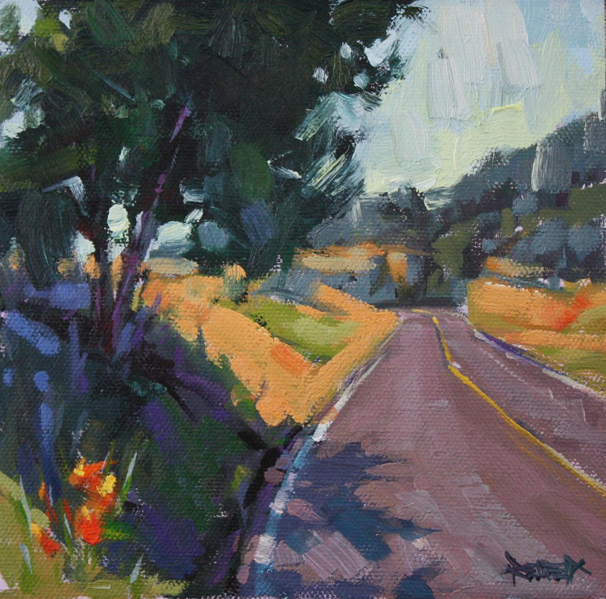 """Road to the Mosier Tunnels - sold"" original fine art by Cathleen Rehfeld"
