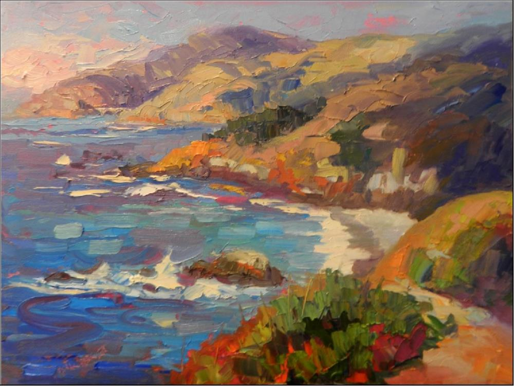 """Pacific Blues, 16x20, oil on panel, paintings of Big Sur, Pacific Ocean impressionist paitnigns of"" original fine art by Maryanne Jacobsen"