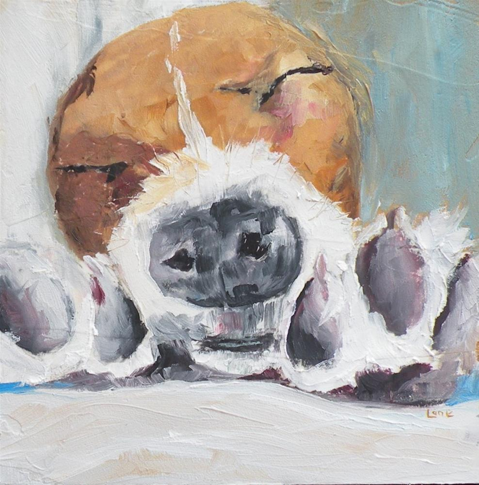 """PUPPY FEET ORIGINAL 4X4 OIL MINI © SAUNDRA LANE GALLOWAY"" original fine art by Saundra Lane Galloway"