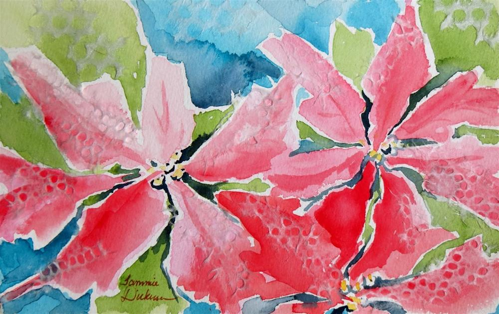 """Party Poinsettias"" original fine art by Tammie Dickerson"