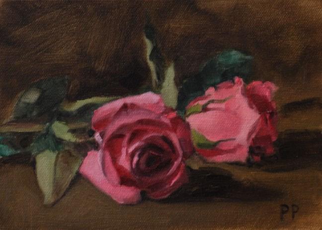 """Pair of Pinks"" original fine art by Pamela Poll"