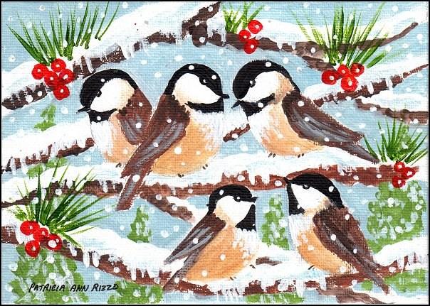 """Little Chickadees in the Snow"" original fine art by Patricia Ann Rizzo"