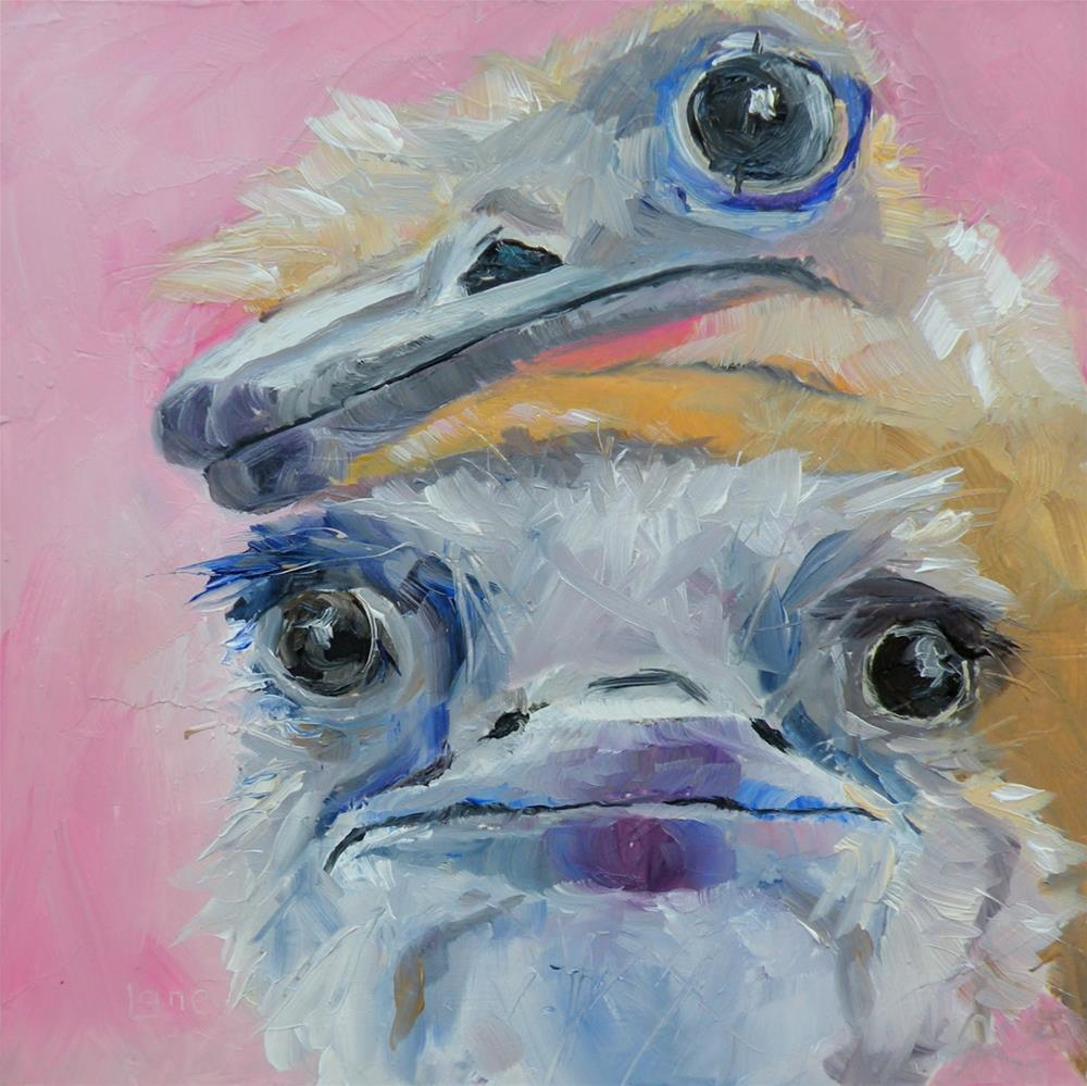 """""""TWO OF A KIND OSTRICH FRIENDS © SAUNDRA LANE GALLOWAY"""" original fine art by Saundra Lane Galloway"""