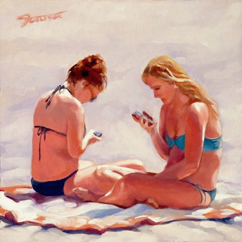 """""""Face Time--The I Phone Moment Series"""" original fine art by Joanna Bingham"""