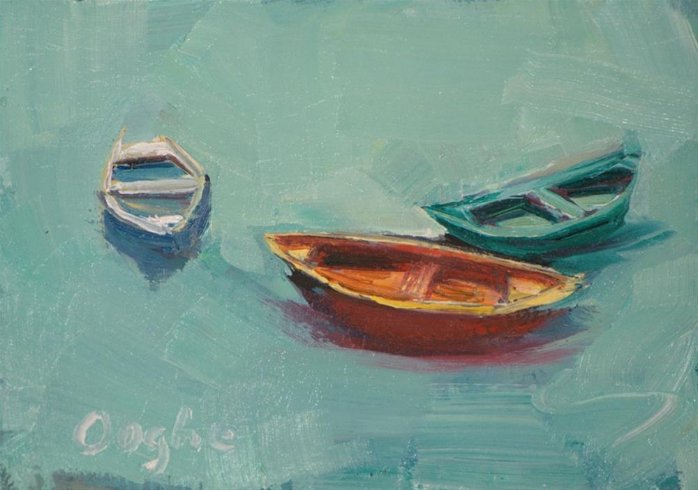 """ACEO Three Boats"" original fine art by Angela Ooghe"