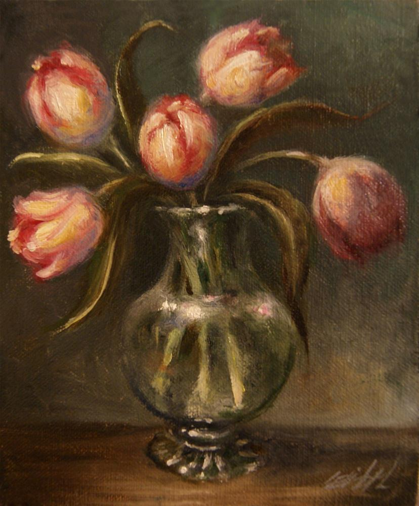 """Pink Tulips in Antique Glass Still Life"" original fine art by Carolina Elizabeth"