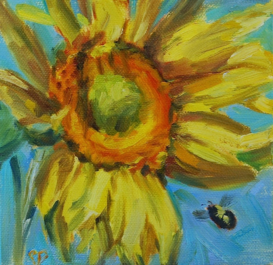 """Sunflower with bee, Original oil by Carol DeMumbrum"" original fine art by Carol DeMumbrum"