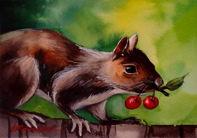 """I  Like Cherries"" original fine art by Kathy Los-Rathburn"