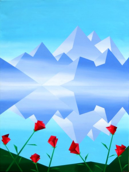 """Mark Webster - Abstract Rocky Mountain Lake Reflection with Red Flowers Abstract Painting"" original fine art by Mark Webster"