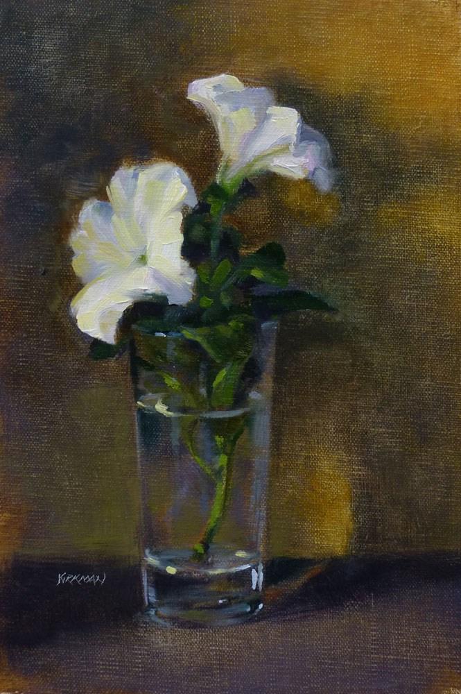 """Petunias in a Glass"" original fine art by Rita Kirkman"