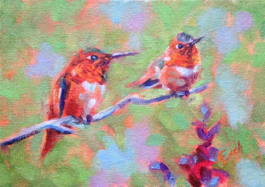 """""""Two Hummingbirds"""" original fine art by Audra Esch"""