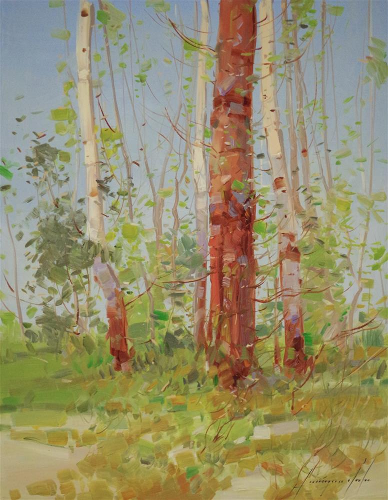 """""""Birches, original oil Painting, One of a Kind"""" original fine art by V Y"""