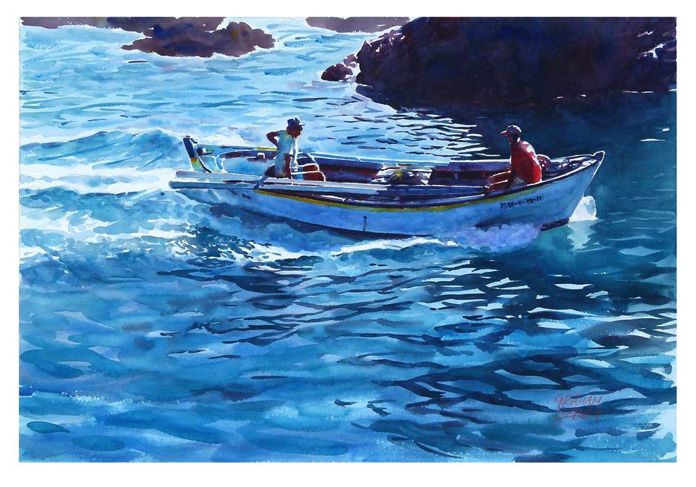 """Back from fishing"" original fine art by Graham Berry"