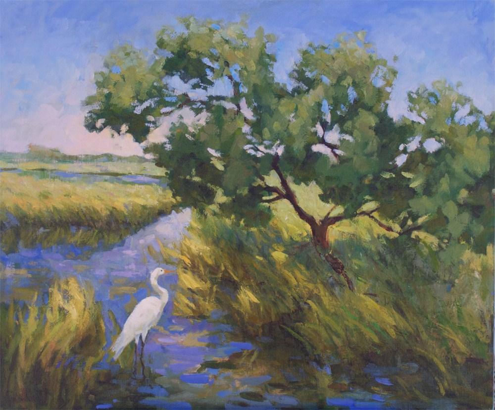 """Egret's Noon Zen"" original fine art by Mary Mulvihill"