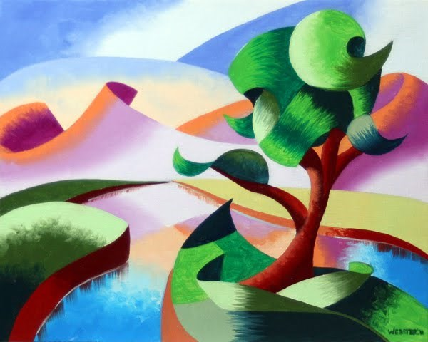 """""""Abstract Geometric Mountain River Landscape Oil Painting by Artist Mark Webster"""" original fine art by Mark Webster"""