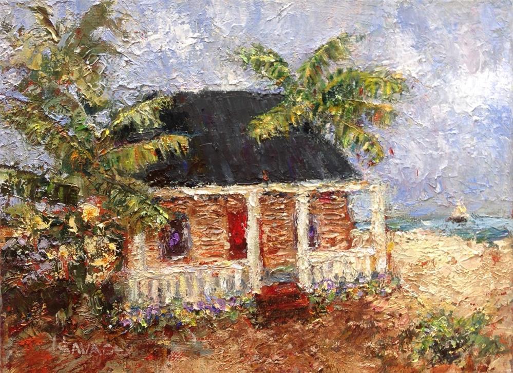 """""""Beach Cottage"""" original fine art by Judy Usavage"""