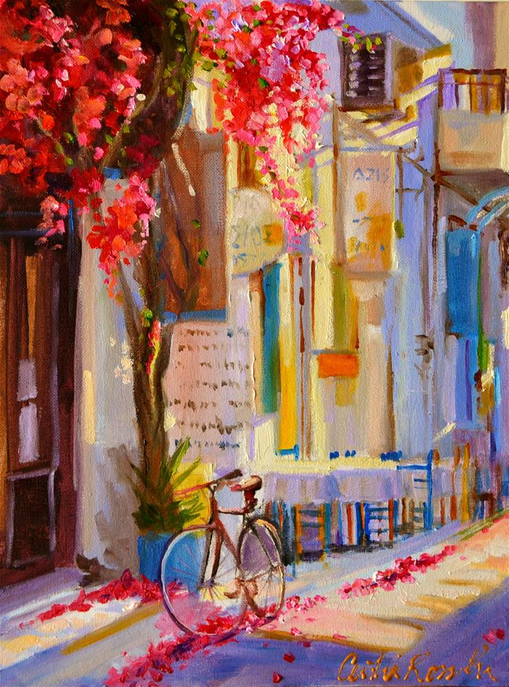 """""""GREEK BISTRO"""" original fine art by Cecilia Rosslee"""