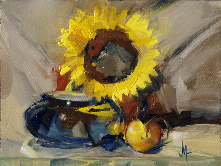 """Sunflower in a Cup"" original fine art by - JanettMarie"