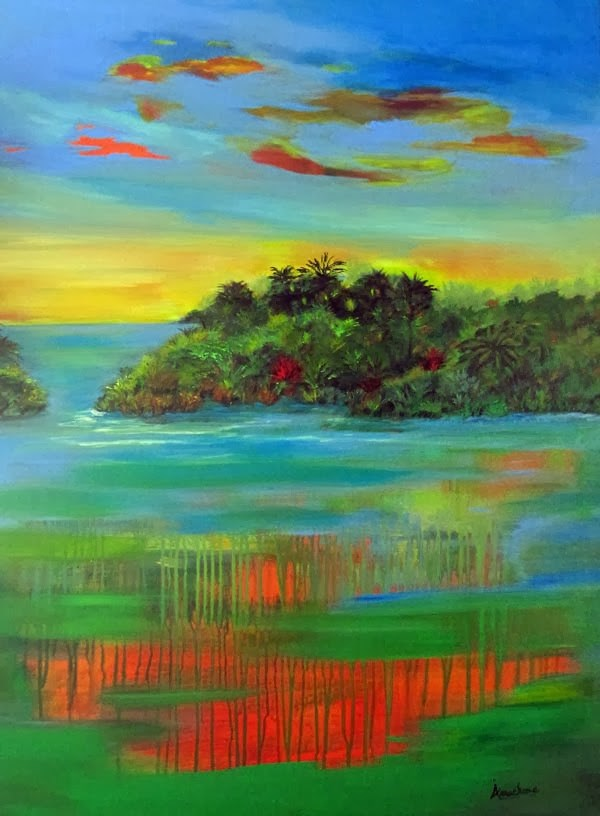 """Abstract Seascape Art Painting Sultry Sunset by Contemporary International Artist Arrachme"" original fine art by Arrachme Art"
