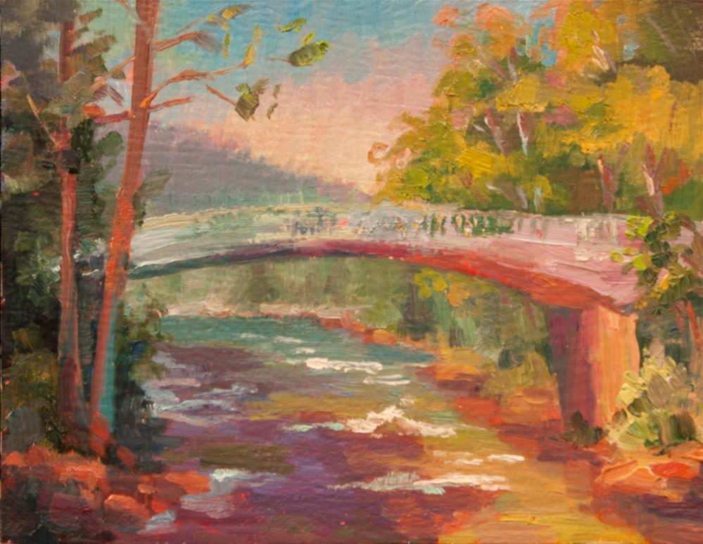 """SALMON RIVER FOOTBRIDGE"" original fine art by Karen E Lewis"