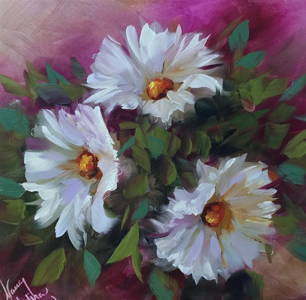 """Triple Bloomer Daisies"" original fine art by Nancy Medina"