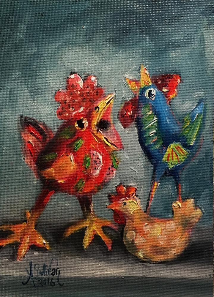 """""""Squawk Box chicken painting by Alabama artist Angela Sullivan"""" original fine art by Angela Sullivan"""