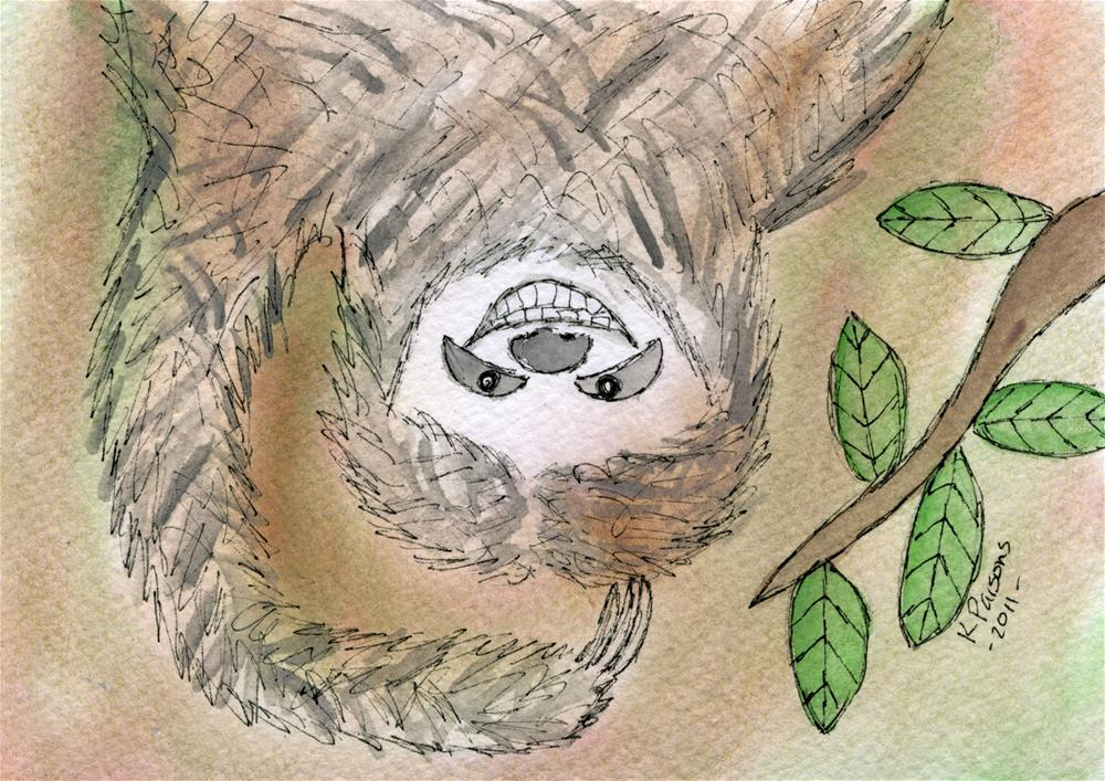"""Super Happy Sloth"" original fine art by Kali Parsons"