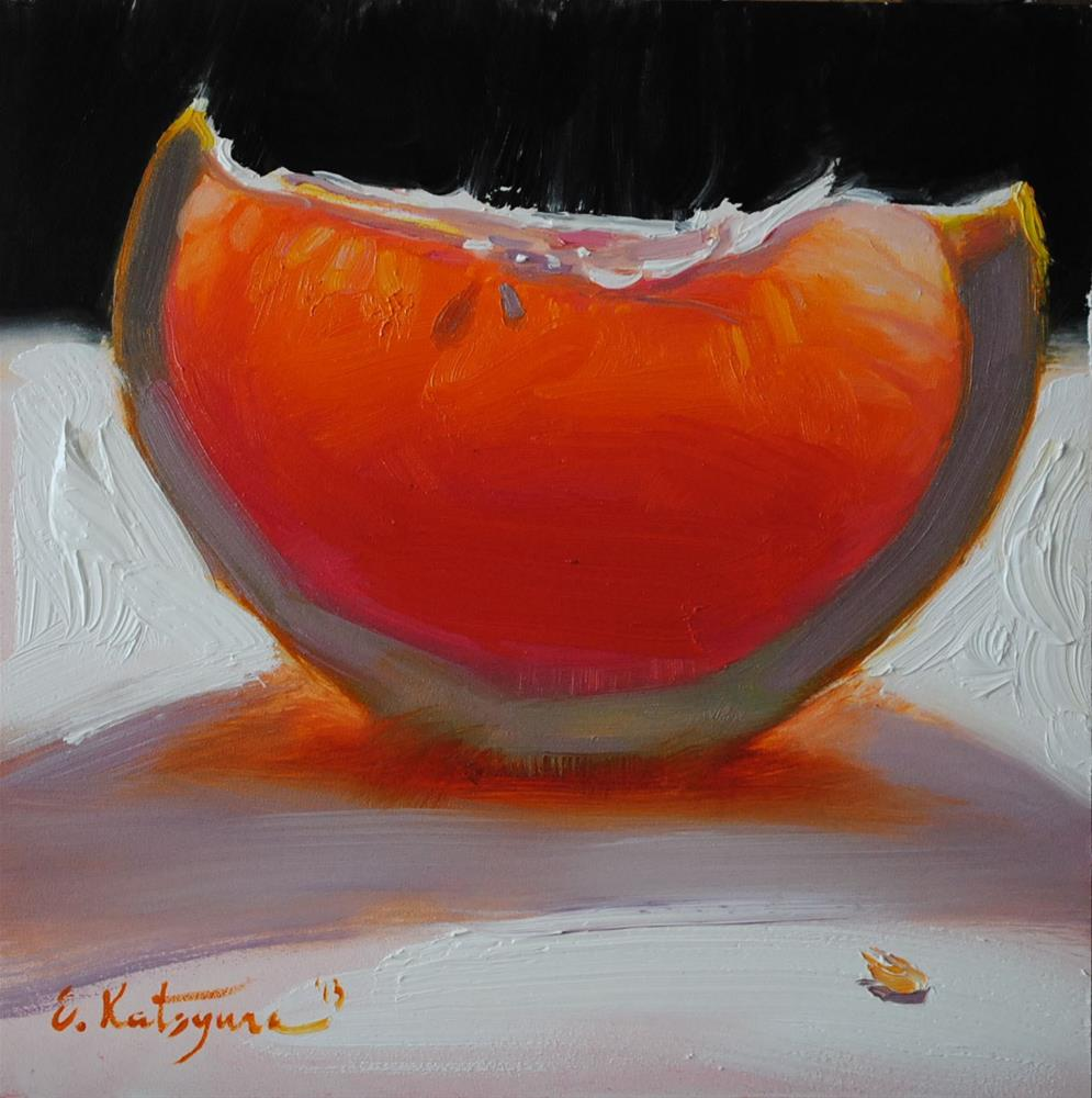 """Red Grapefruit Slice"" original fine art by Elena Katsyura"